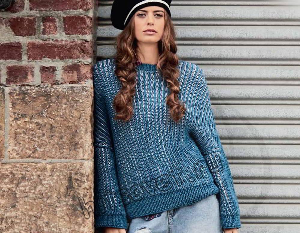 Пуловер патентным узором, фото.