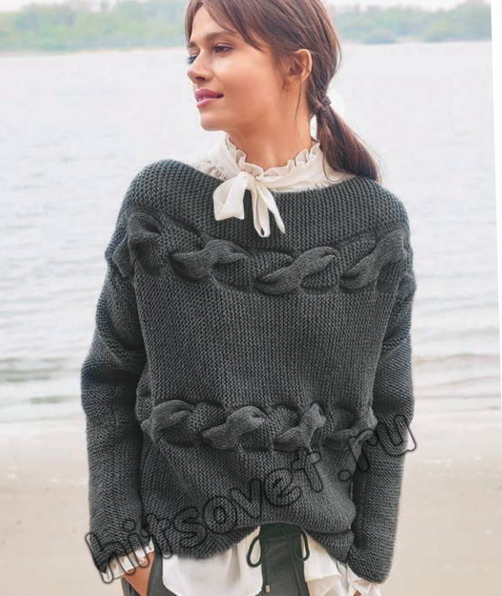 Пуловер с поперечными косами, фото.