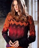 Пуловер узором павлиний хвост, фото.