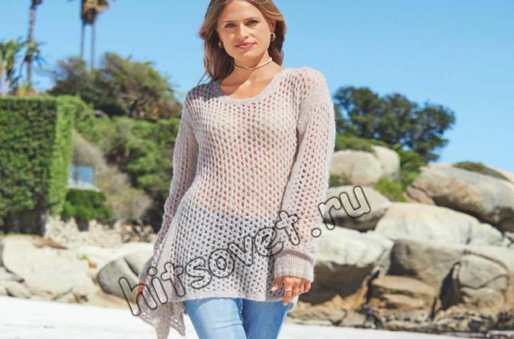 Свободный сетчатый пуловер, фото.