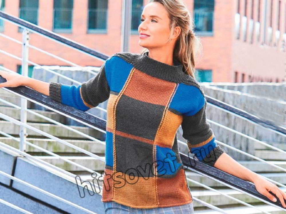 Пуловер в клетку, фото.