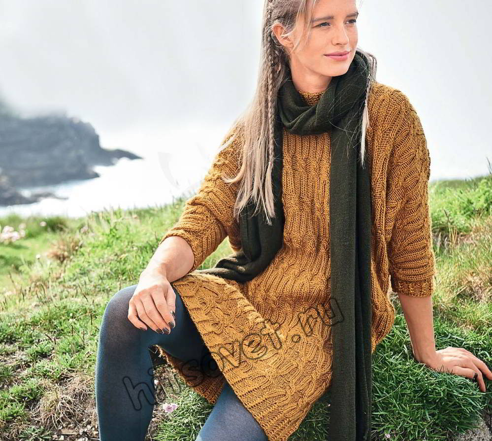 Платье свитер спицами