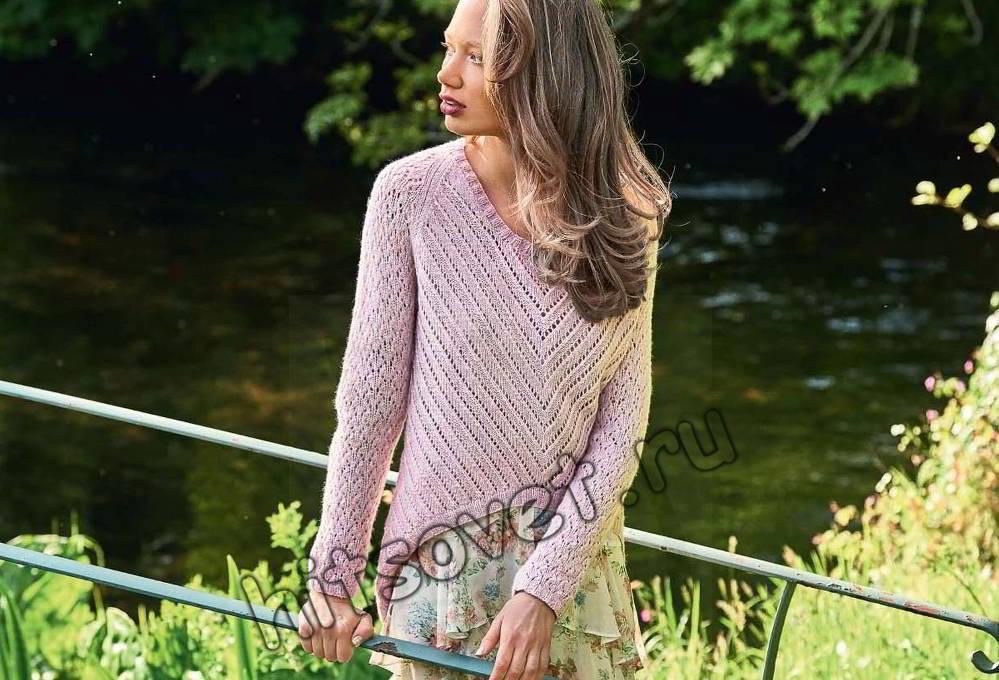 Пуловер с фигурным нижним краем, фото.