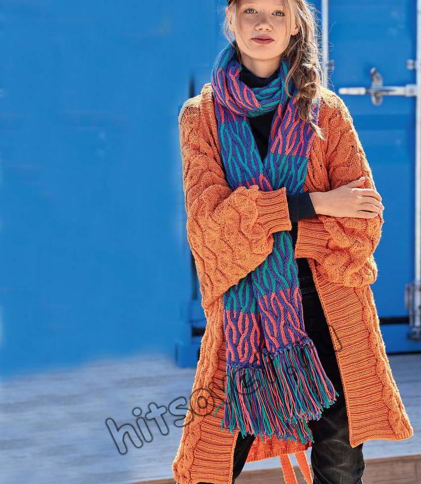 Вязаное пальто и шарф, фото.