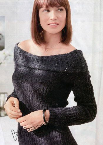 Черное вязаное платье, фото 2.