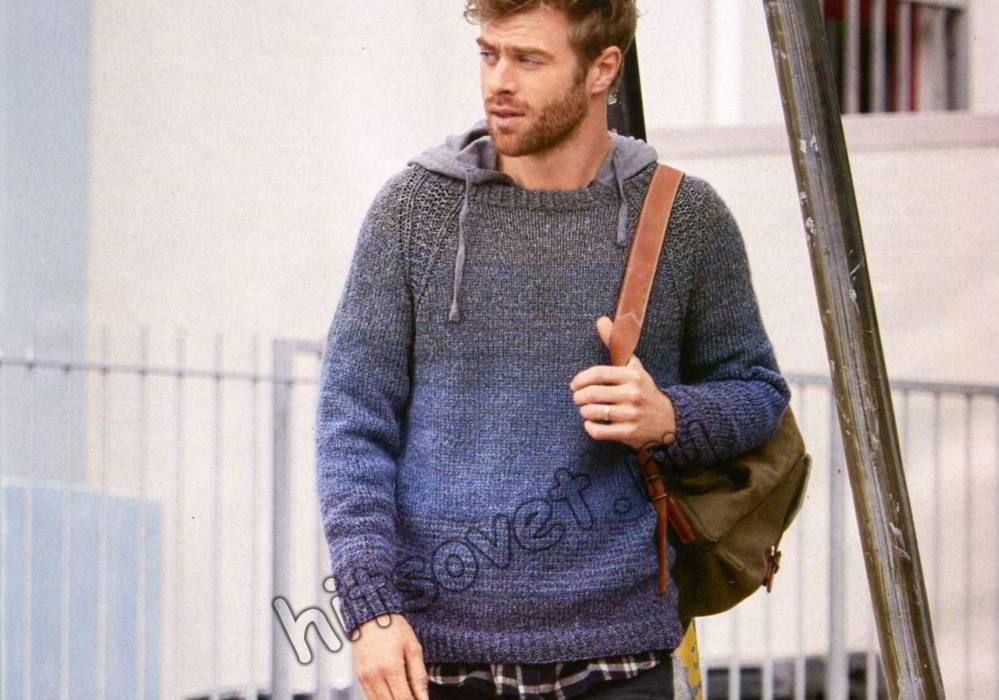 Меланжевый мужской свитер, фото.