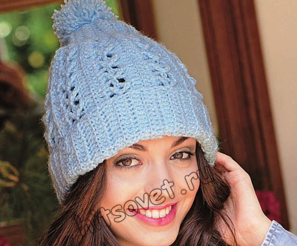 Модная шапка крючком, фото.