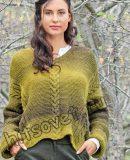 Пуловер оверсайз с косами, фото.