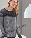 Пуловер полупатентной резинкой, фото.