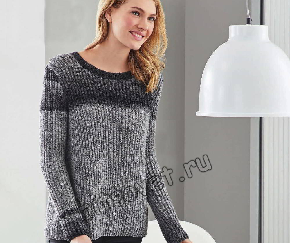 Пуловер полупатентной резинкой