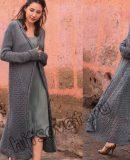 Стильное пальто вязаное, фото.