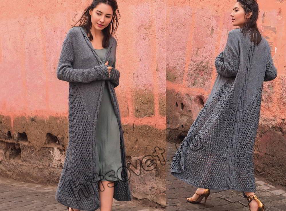 Стильное пальто вязаное