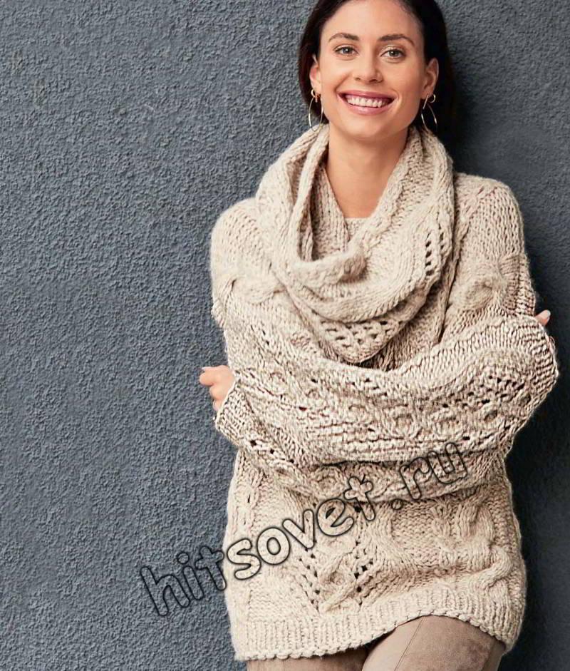 Свободный джемпер и шарф петля, фото.