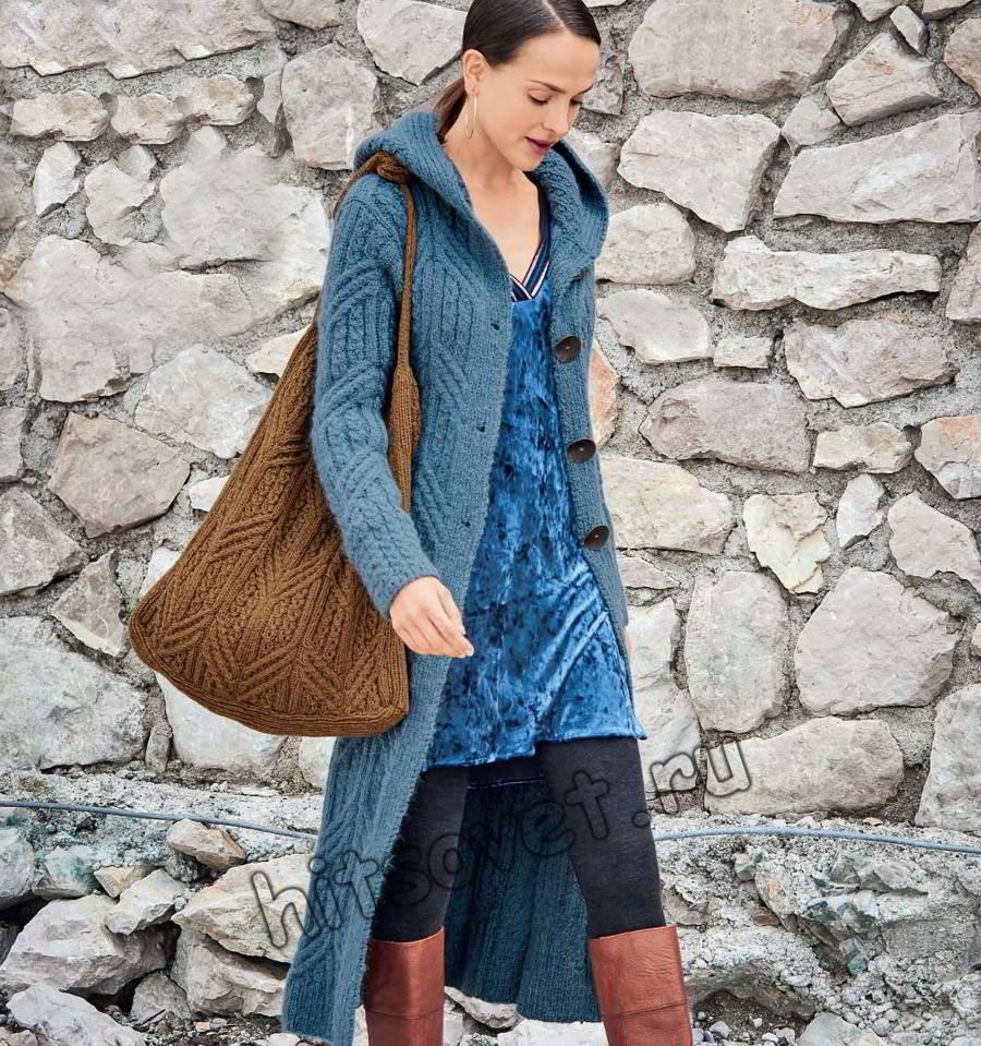 Длинное вязаное пальто, фото.