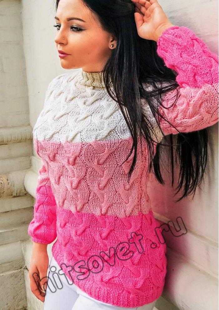 Модный свитер косами
