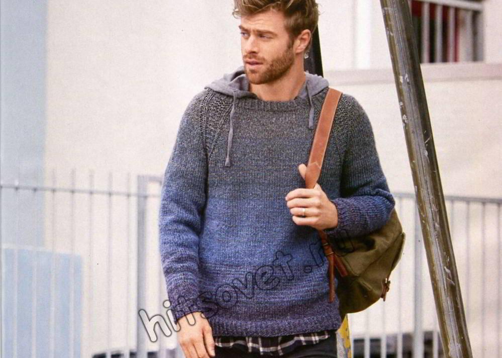 Мужской бесшовный пуловер, фото.