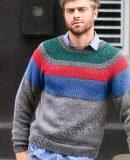 Мужской вязаный свитер, фото.