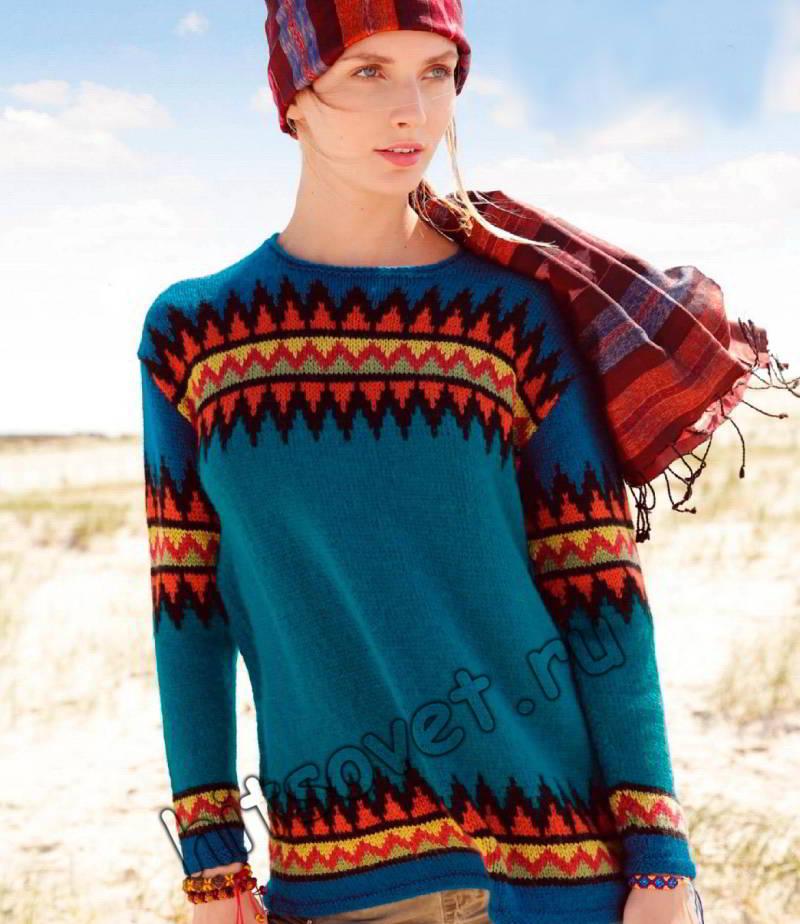 Объемный пуловер жаккард, фото.