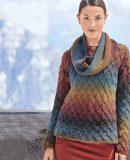 Пуловер плетеным узором, фото.