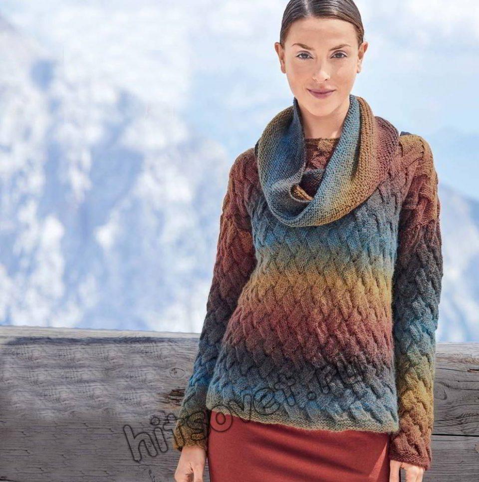Пуловер плетеным узором