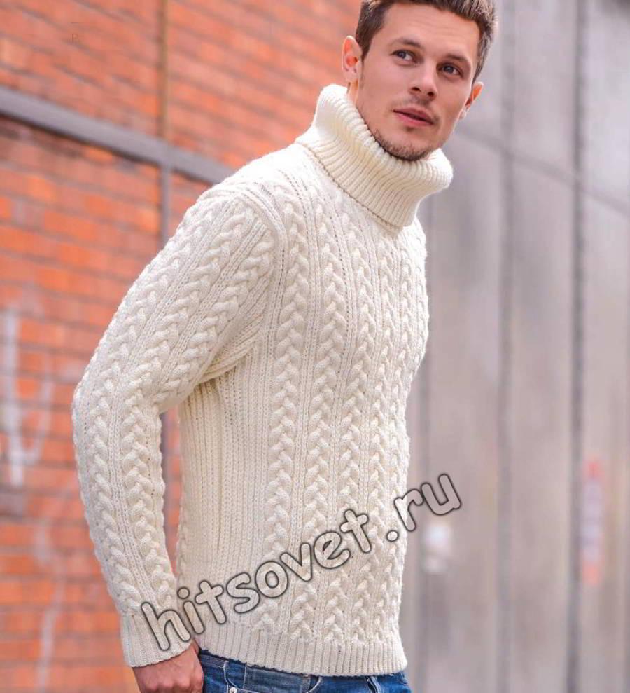 Мужской свитер вязаный, фото.