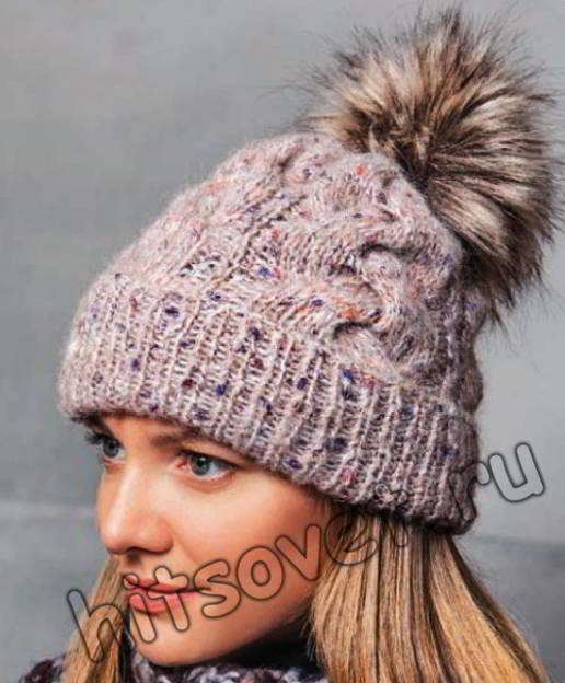 Модная шапка с косами, фото.