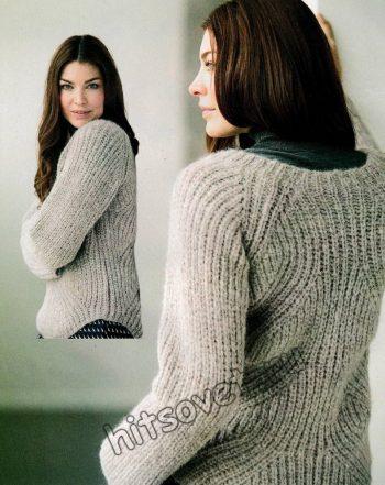Пуловер с фигурным полупатентным узором, фото 2.