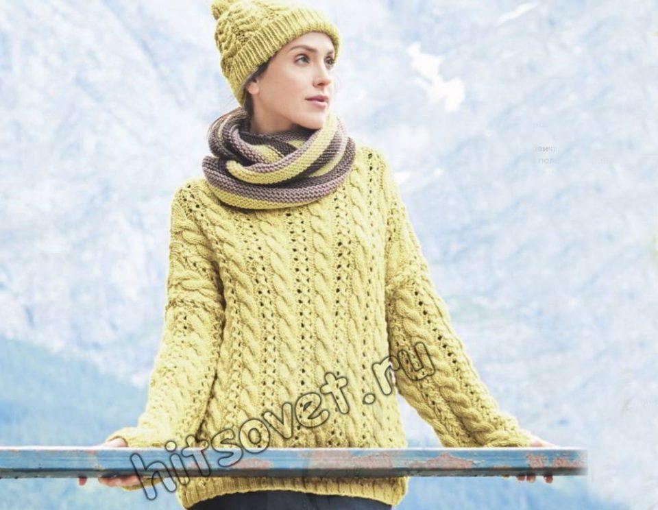 Пуловер и шапка, фото.