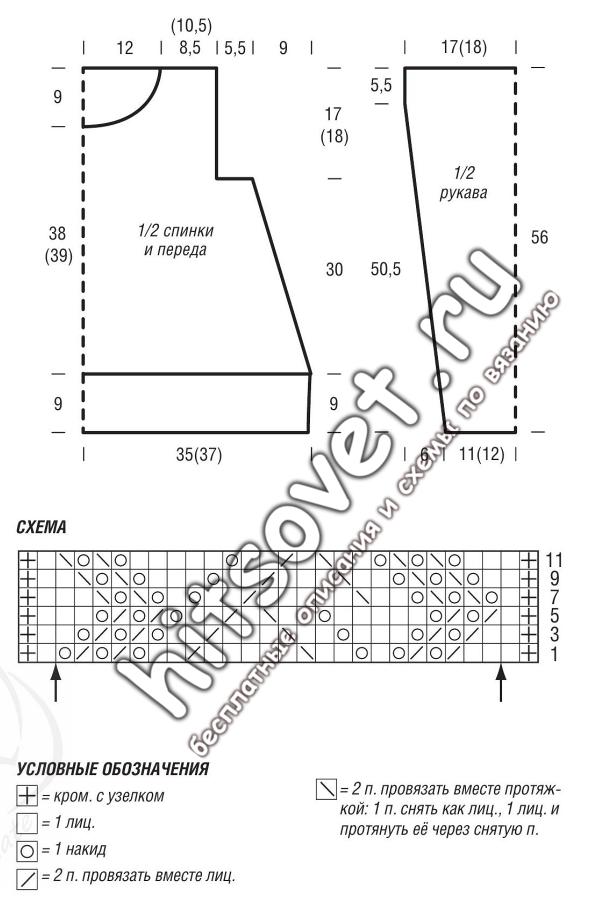 Схема и выкройка джемпера
