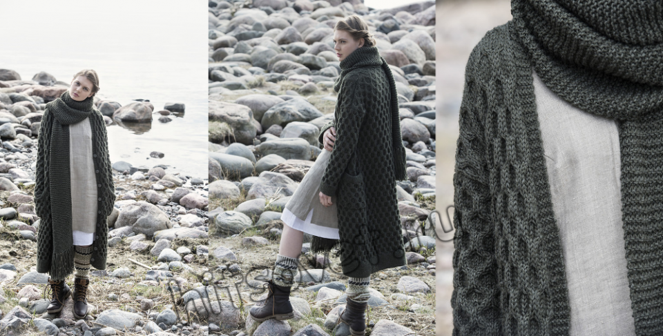 Модное пальто спицами, фото.