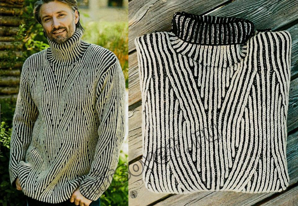 Мужской свитер патентным узором, фото.