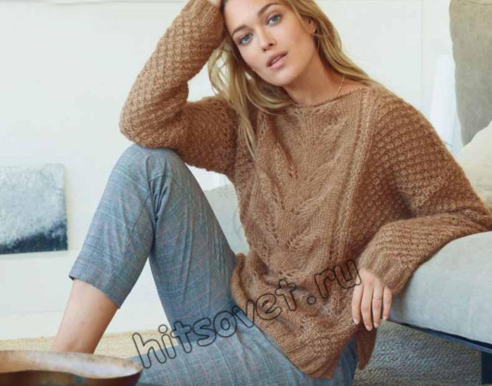 Пуловер с каракулевым узором, фото.