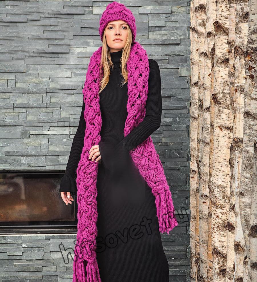 Шапка и шарф плетенка