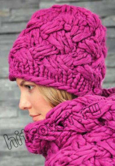 Шапка и шарф плетенка, фото 2.