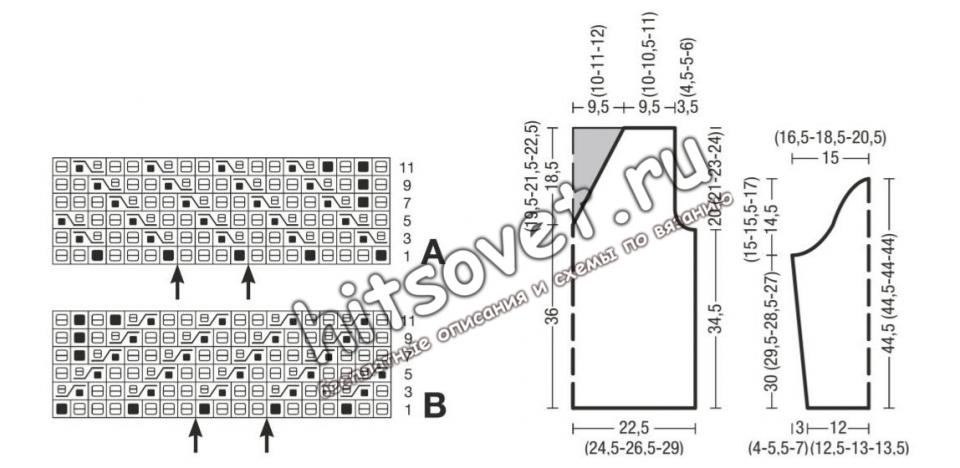 Схема и выкройка красного джемпера
