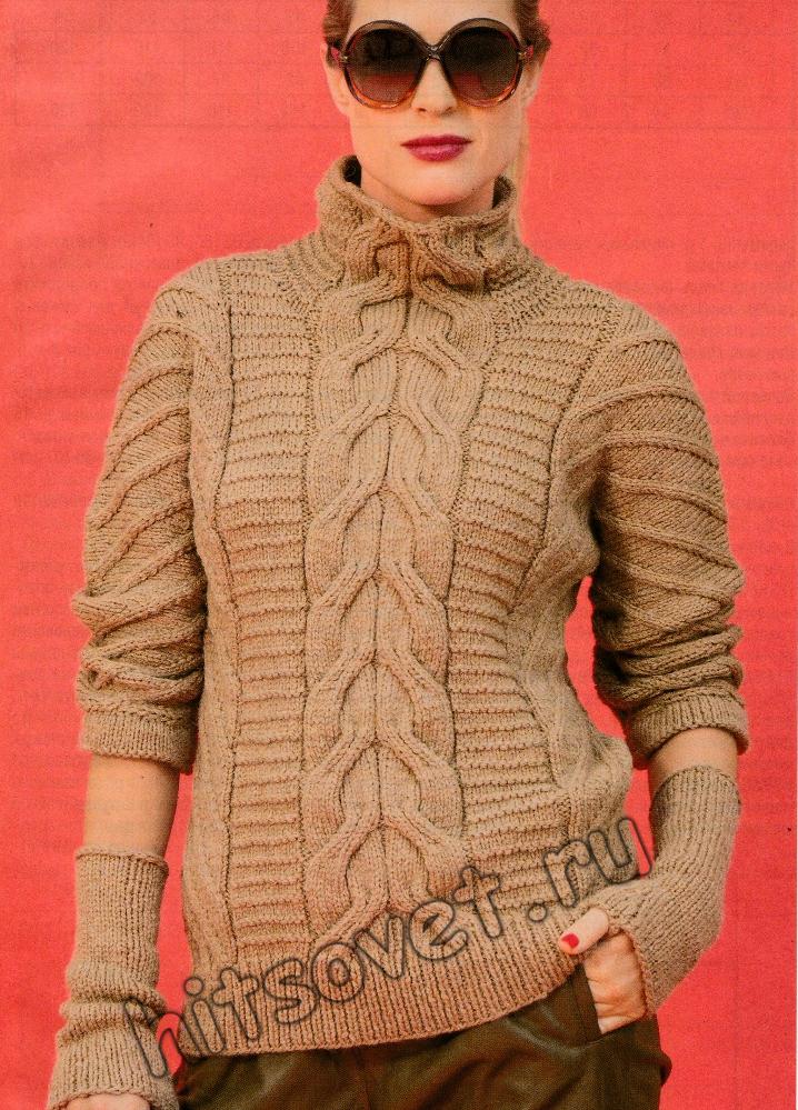 Пуловер и митенки, фото.