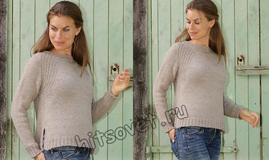 Пуловер реглан сверху спицами, фото.