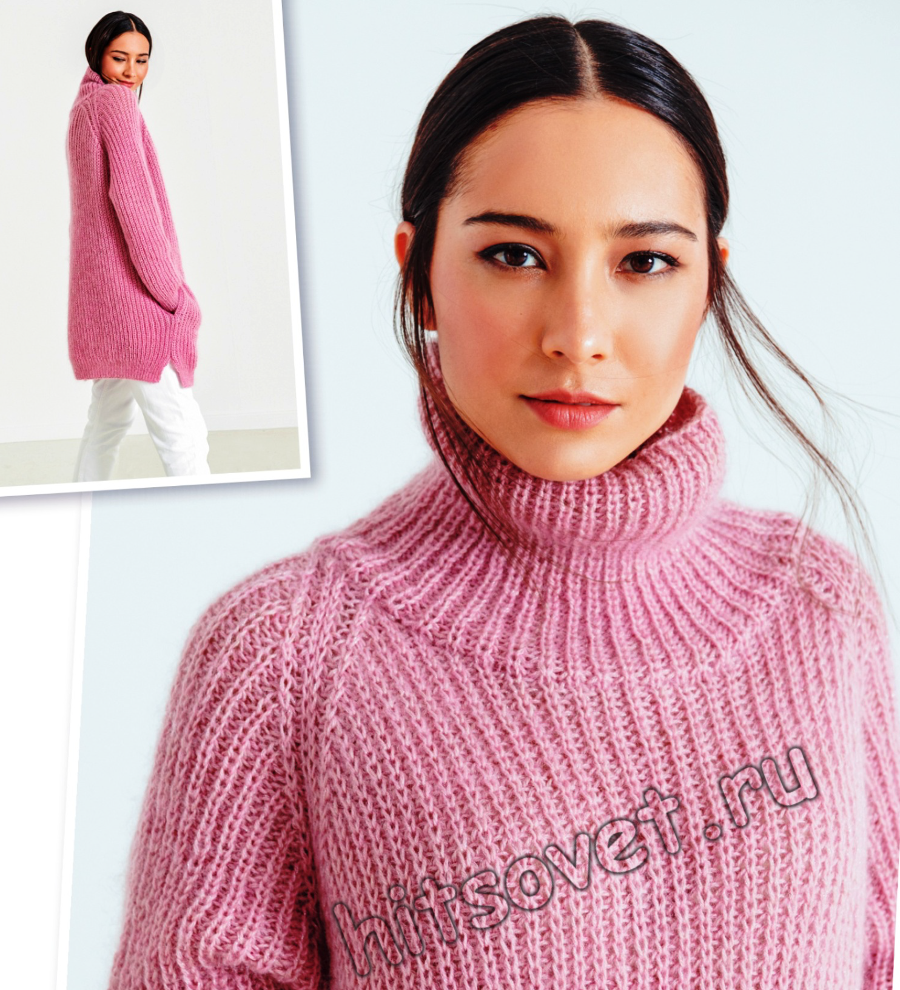 Розовый вязаный свитер, фото.