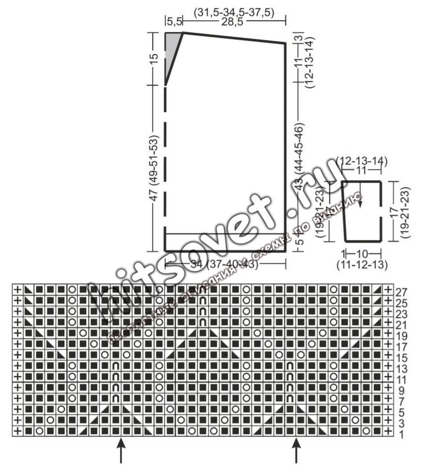 Схема и выкройка свободного ажурного джемпера