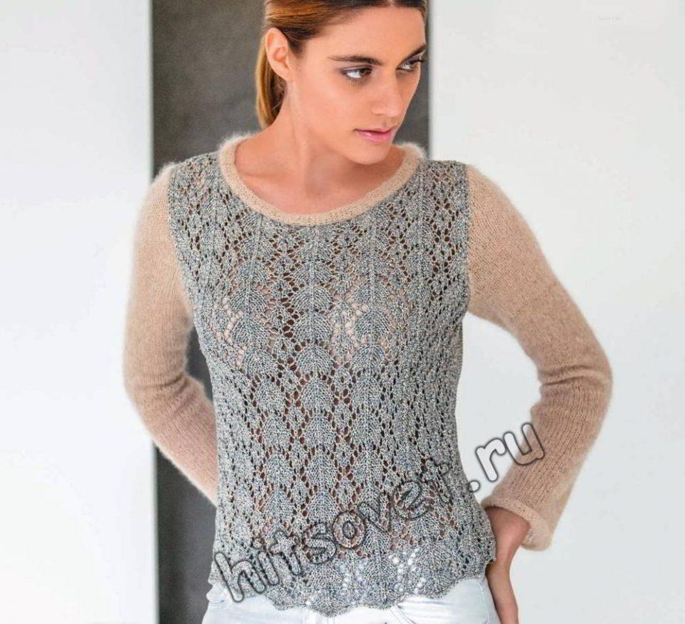Двухцветный ажурный пуловер, фото.
