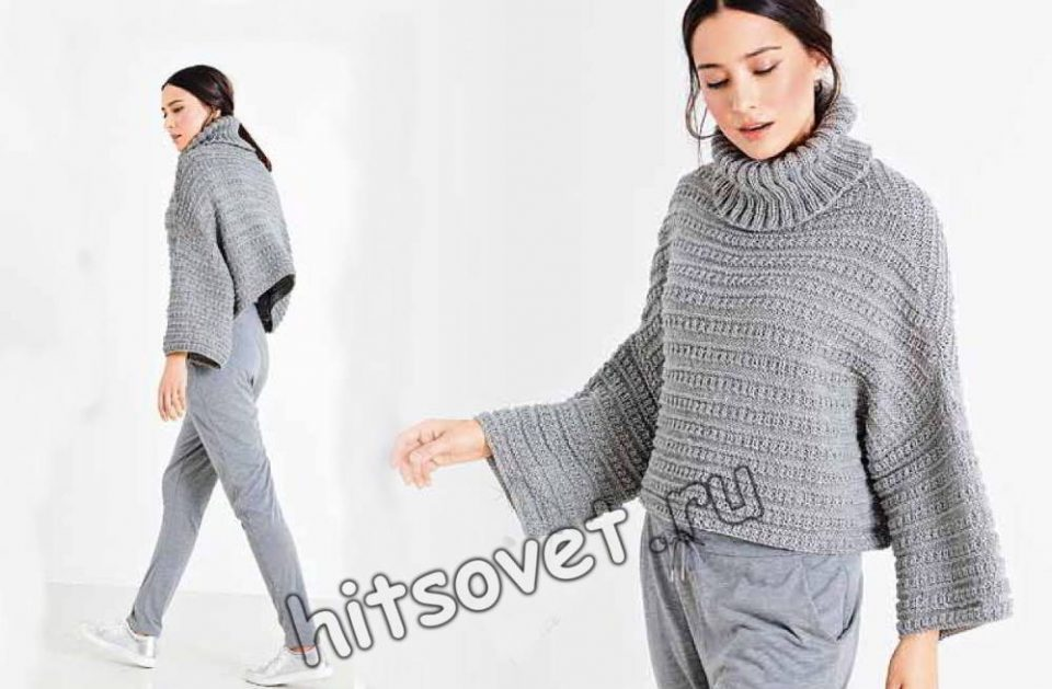 Короткий свитер оверсайз, фото.