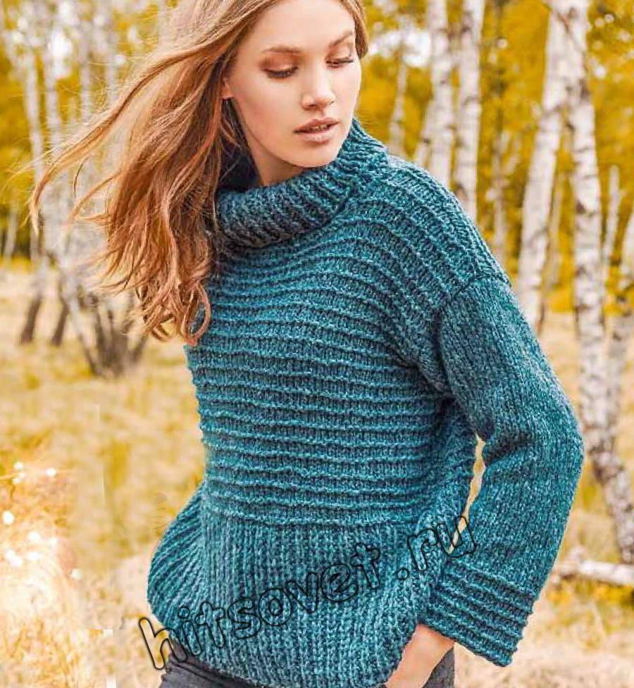 Модный свитер 2019 спицами, фото.