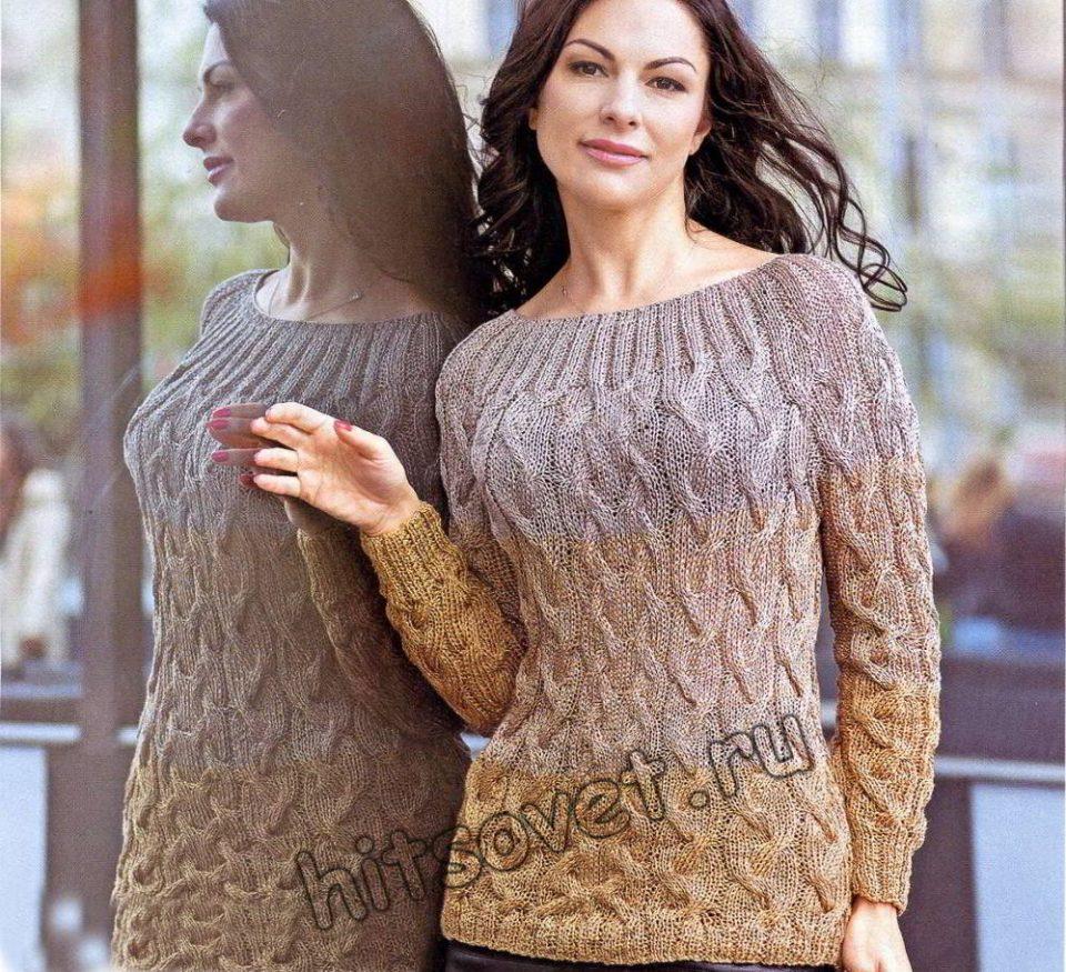 Пуловер косы, фото.
