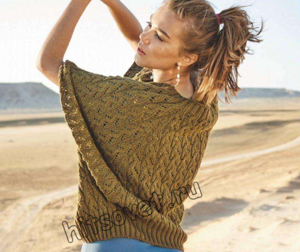 Пуловер пончо без швов, фото.