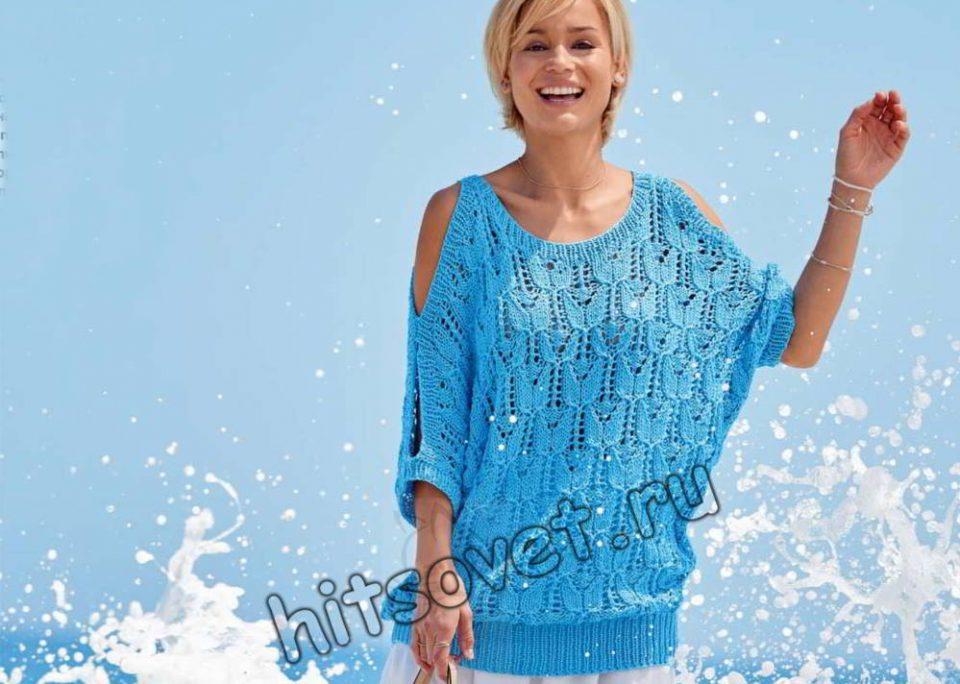 Пуловер с вырезами на плечах, фото.