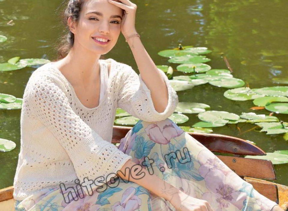Модная ажурная кофточка спицами, фото.