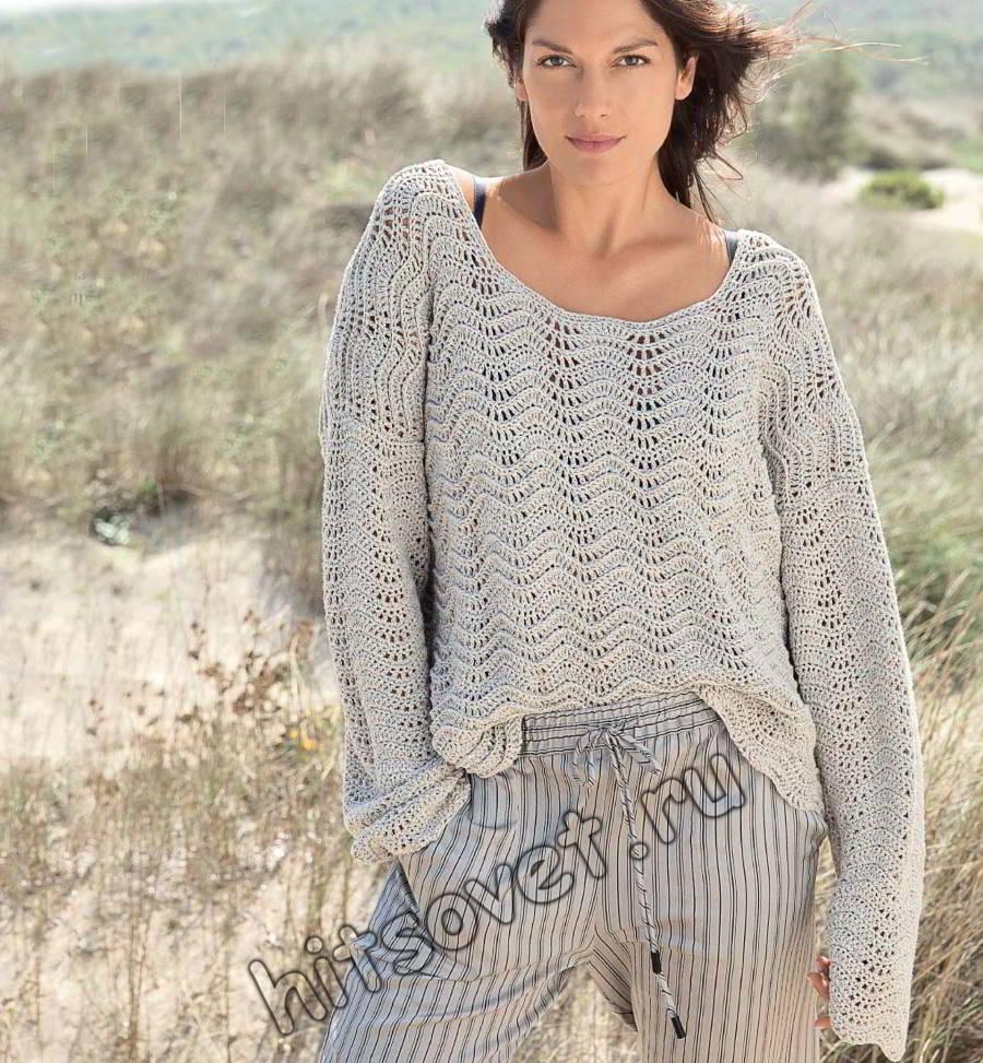 Пуловер оверсайз волнистым узором, фото.
