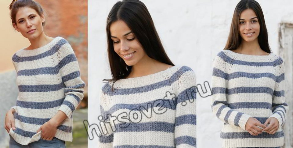Пуловер реглан в полоску спицами, фото.
