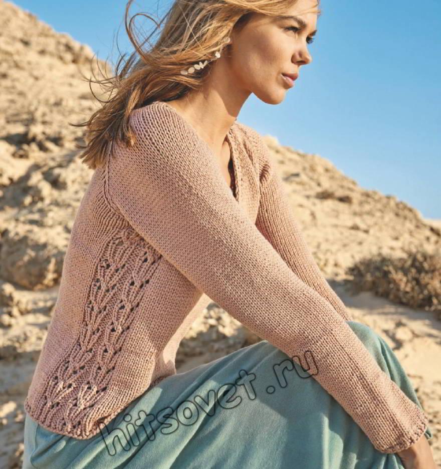 Пуловер реглан с ажурными боковыми вставками, фото.