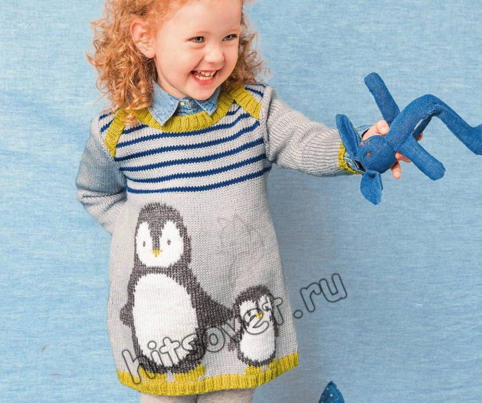 Вязаное платье с пингвинами для девочки, фото.